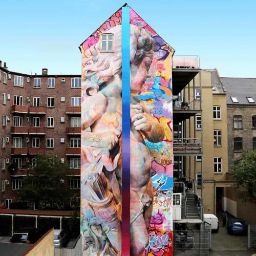 """Street Murals by PichiAvo seen at Aalborg, Aalborg - Eros/Cupid mural """"love desire"""""""
