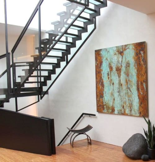 Paintings by Paul Seftel seen at Private Residence, New York - Strage Obsession, Iron Oxide and Copper Patina paintings