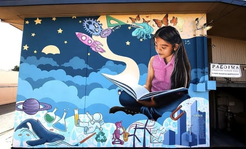 Murals by Levi Ponce seen at Pacoima Charter School, Los Angeles - Sueños