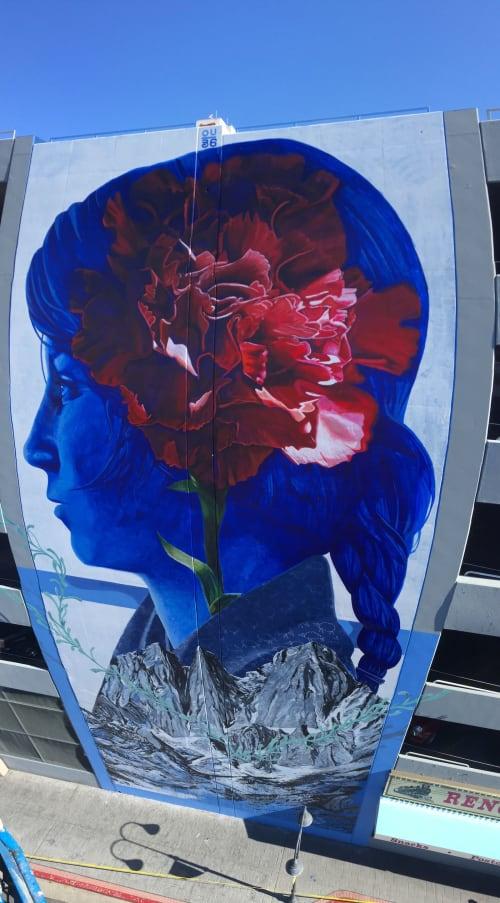 Murals by Erik Burke seen at Whitney Peak Parking Garage, Reno - Blueprint of Mother