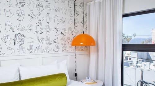 Wallpaper by Astek seen at Hotel Erwin, Los Angeles - Custom Printed Wallpaper