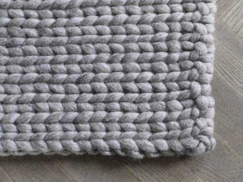 Rugs by WOOLDOT seen at Private Residence, Aarhus - Sand Brown Braided Rug handmade in 100% wool.