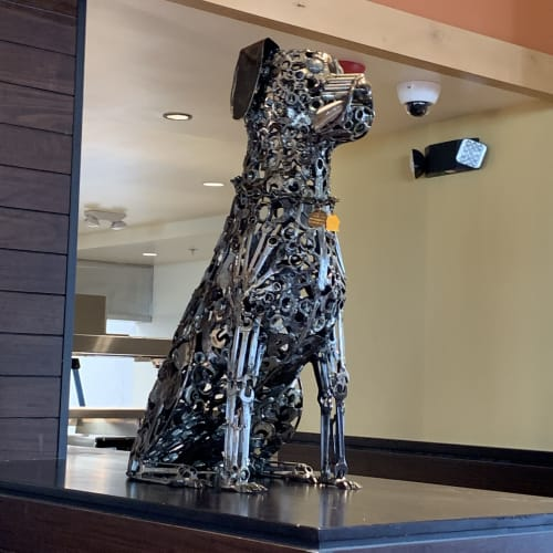 Art Curation by TMJ CREATIVE SCULPTURES seen at Lazy Dog Restaurant & Bar, Dallas - Pair of Dogs