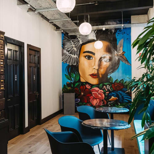 Murals by Jonny McKerr (JMK Art) seen at Iconic Offices - The Masonry, Dublin 8 - Lady Mural