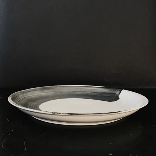 Ceramic Plates by Monsoon Pottery seen at Private Residence - West Town, Chicago, Chicago - Brushstroke Serving Dish