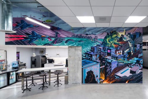 Murals by The Draculas seen at 444 W Ocean Blvd, Long Beach - Indoor Mural