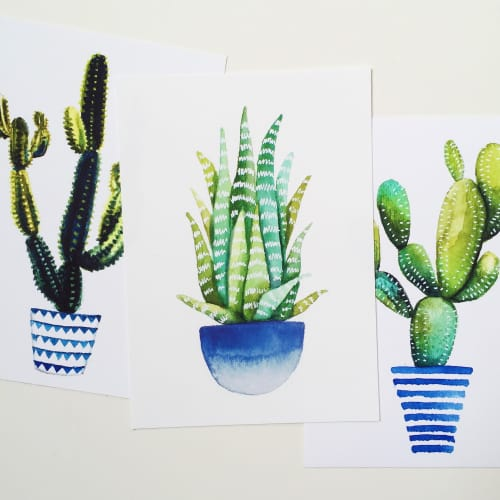Paintings by Kristine Brookshire Art seen at Private Residence, Washington - Cactus/Succulent Prints