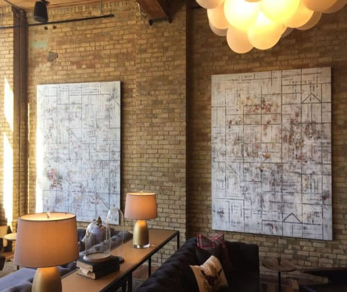 Paintings by Patrick Pryor seen at Hewing Hotel, Minneapolis - Geometric abstract art