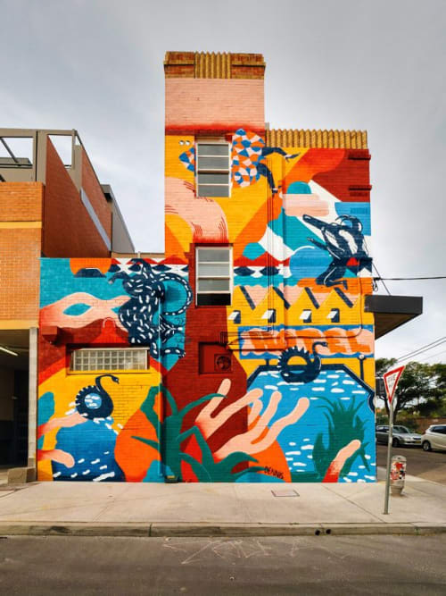 Street Murals by Studio Dennis seen at Sydney Park Hotel, Newtown - Mural (Abstract)