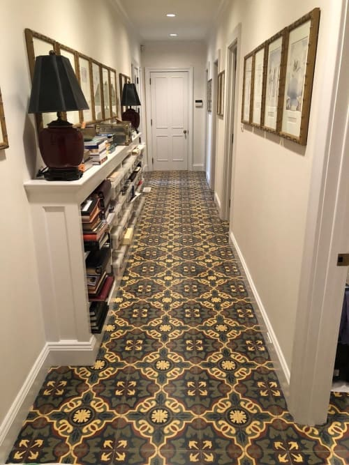 Tiles by Amethyst Artisan seen at Private Residence, Greenwich - MARINA HALE NAVY CEMENT TILE