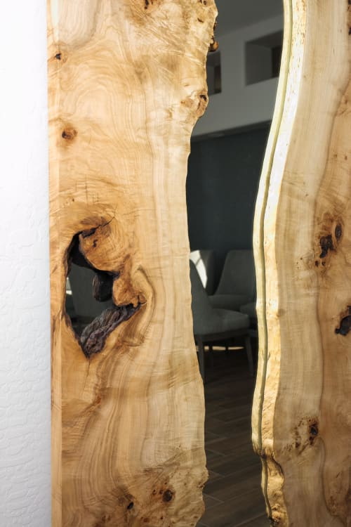 Wall Hangings by Lumberlust Designs seen at Private Residence, Scottsdale - Maple Burl Live Edge Standing Mirror