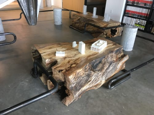 Tables by Carolina Urban Lumber seen at Little Diversified, Charlotte - White Oak Table and Stump Art Installation