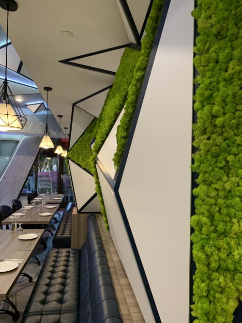 Interior Design by Greenmood seen at New York, New York - Stabilized lichen on a triangular structure  in New York, USA