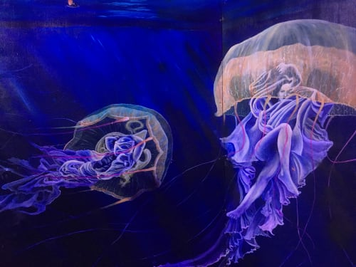 Murals by Annie Kyla Bennett Art seen at Hulaween 2018, Live Oak - Lifting the Veil mural