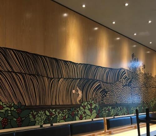 Murals by Kris Goto seen at Starbucks, Honolulu - Starbucks Reserve Mural 2017