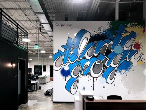 Murals by John Tindel seen at Google Fiber Space, Atlanta - Google Fiber Mural