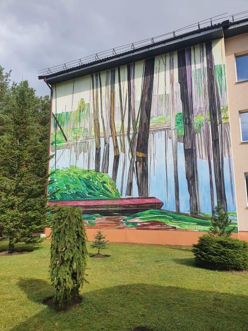 "Paintings by Mykolé seen at Ignalina, Ignalina - Wall painting ""Marsh"""