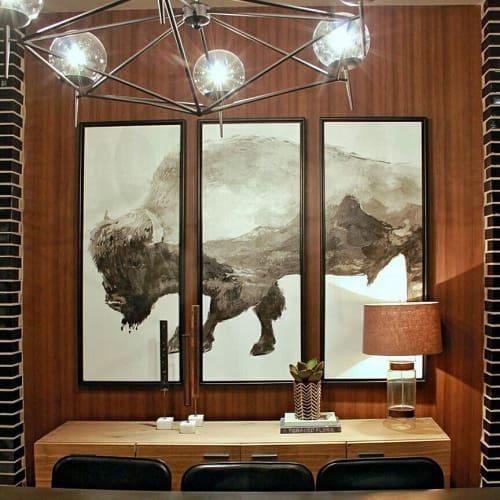 Paintings by Organik Creative at Lakeline Crossing, Cedar Park - Triptych Bison