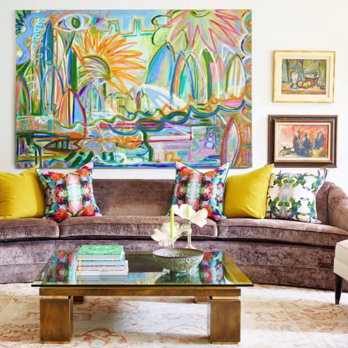 Paintings by Windy O'Connor Art and Home seen at Private Residence, Charlotte - Surf Report Series