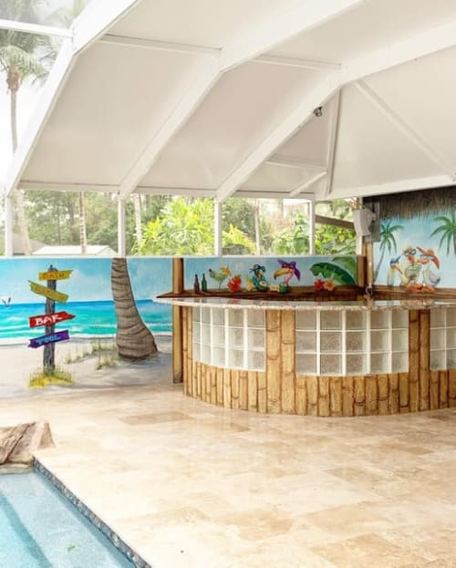 Murals by Art Turquoise Murals and faux finishes seen at Private Residence, Loxahatchee Groves - Poll beach mural and tiki