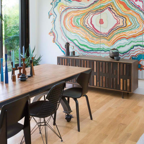 Murals by Caroline Lizarraga seen at Private Residence, Menlo Park - Hand-painted Wall Mural