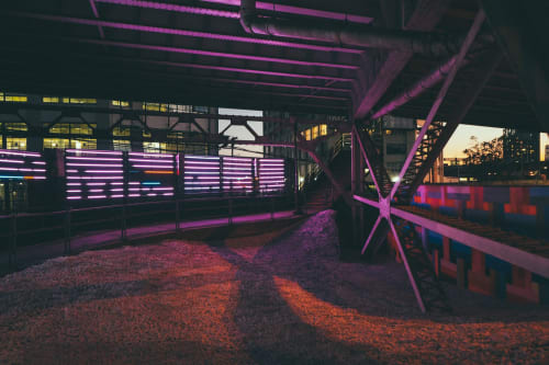 Street Murals by SashaBPhoto seen at Long Island City, Queens - illuminated walk way