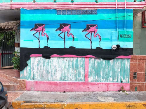 Street Murals by Recycled Propaganda seen at Isla Mujeres, Isla Mujeres - Spoils