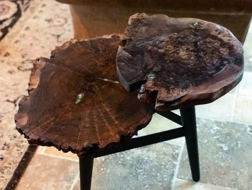 Tables by Natural Wood Edge Creations by Rick Griggs seen at Private Residence, Phoenix - Claro Walnut Burl Live Edge Two-Tier End Table with Green Turquoise Inlay