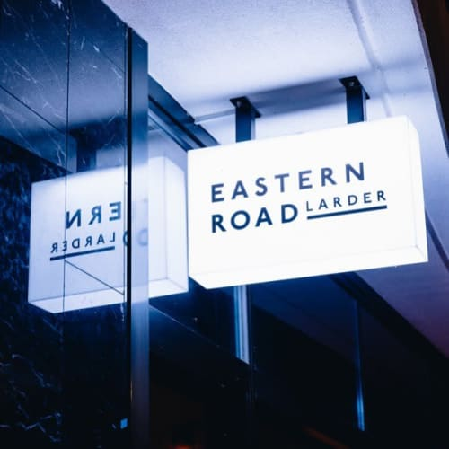 Signage by Studio Mimi Moon seen at Eastern Road Larder, South Melbourne - Eastern Road Larder Logo Design