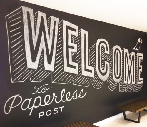 Murals by Friends of Type seen at Paperless Post, New York - A hospitable Wall