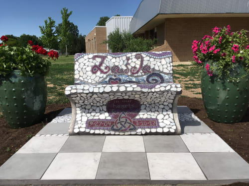 "Public Mosaics by Jane Glotzer seen at Alicia Sanchez International School, Lafayette - ""For Zaida: Mosaic Memorial Bench"""