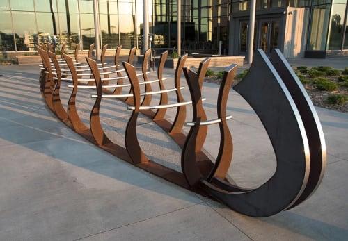 Public Sculptures by MUELLER STUDIO seen at Brooklyn Park Library, Brooklyn Park - Bike Rack