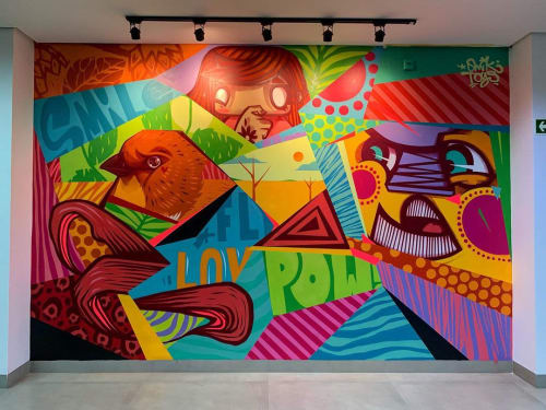 Murals by Mikael Omik seen at Ambev Brewery Anapolis - Indoor Mural
