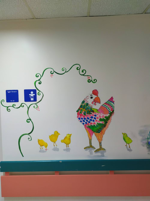 Murals by Tania Christoforatou seen at University General Hospital of Heraklion - Hen and Duck