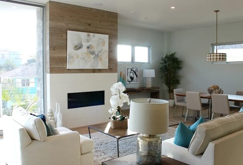 Paintings by TS ModernArt Studio seen at Private Residence, Manhattan Beach - Blanched II