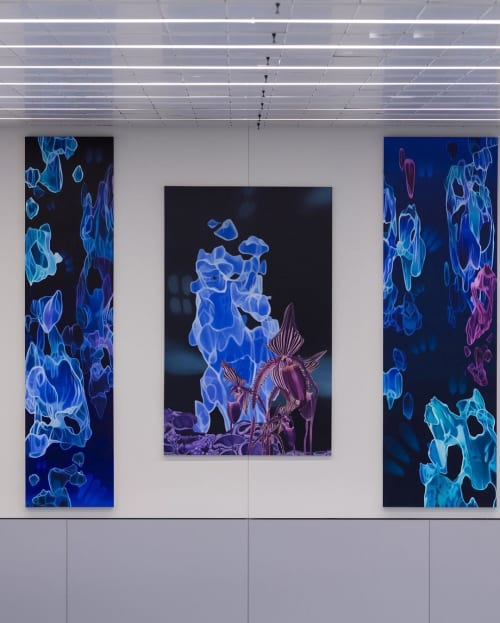 Paintings by Gary Brewer seen at LAX Terminal #7, Los Angeles - Across the Universe