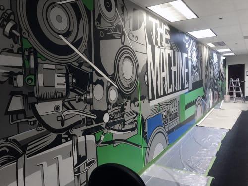Murals by John Tindel seen at Ncr, Alpharetta - The Machine