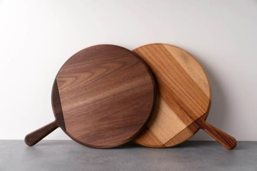 Tableware by Alabama Sawyer seen at Private Residence, Birmingham - Round Wood Cutting Board with Textured Handle