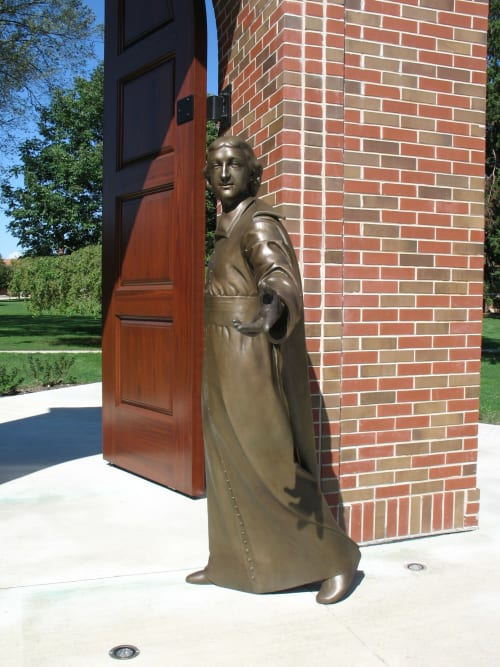 Public Sculptures by Alec M. Smith seen at Lewis University (University Pkwy & University Dr), Romeoville - Saint John Baptist de La Salle