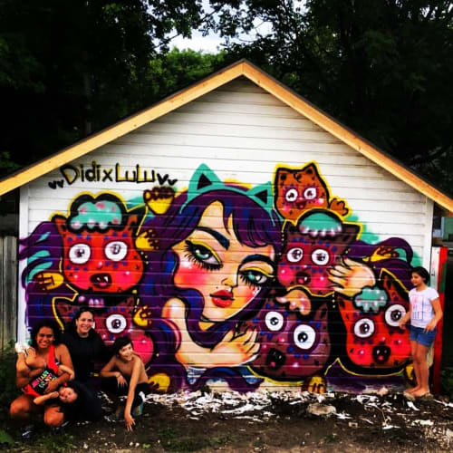 Murals by LULUKATHULU seen at Private Residence, Des Moines - Wall mural