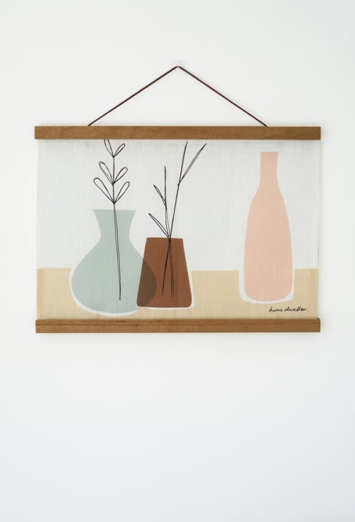 Wall Hangings by Home Dweller seen at Private Residence, Brisbane - Vessels - Linen Wall Hanging with Reusable Magnetic Hanger