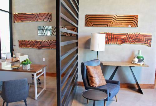 Art & Wall Decor by Organik Creative at Twin Creeks Crossing, Allen - Cedar Wood Slabs & Mirror