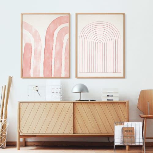 Paintings by forn Studio by Anna Pepe seen at Private Residence, Los Angeles - Set of 2 pink prints