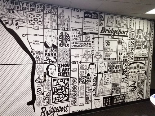 Wallpaper by Joe Mills Illustration seen at Guaranteed Rate Field, Chicago - Bridgeport and Armour Square Map