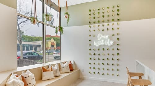 Plants & Flowers by Keyaiira   leather + fiber seen at Drip Doctors Brentwood, Los Angeles - Custom Leather Plant Hangers