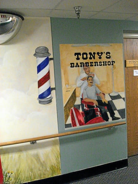 Murals by Pam Pappas seen at Tony's Barber Shop, Aurora - Tony's Barber Shop Mural