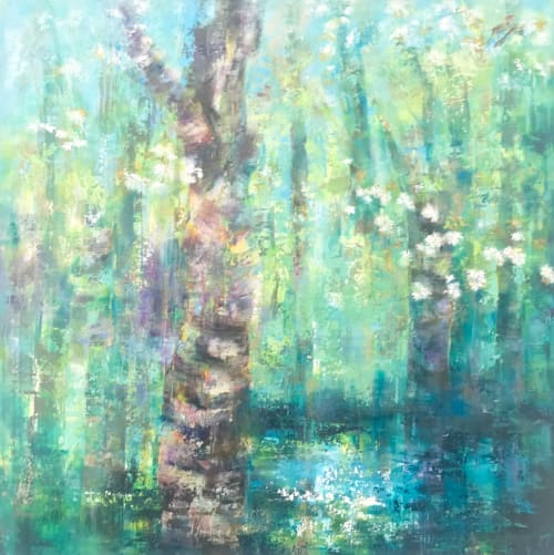 Paintings by Sue Graham seen at Private Residence, Nashville - Cherry Trees Wth Dew Pond