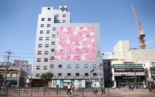 Murals by Hyphen Art Group seen at Myongji St. Mary's Hospital, Dorim-ro - 10 Pink Ribbons with Flowers
