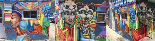 Street Murals by Rahmaan Statik Barnes seen at Private Residence, Chicago - Pandamonium