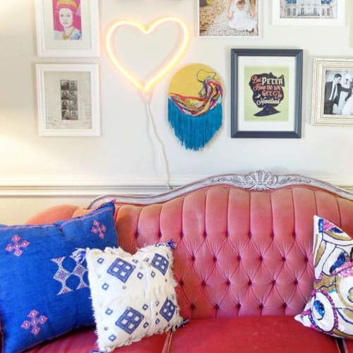 """Wall Hangings by Emma Balder seen at Au Darling, Mandeville - """"She'll never cut my hair again"""""""